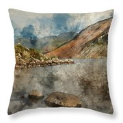 Digital Watercolor Painting Of Beautiful Sunset Landscape Image  Throw Pillow