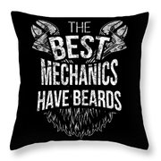 Funny Mechanic Beard Facial Hair Apparel Throw Pillow