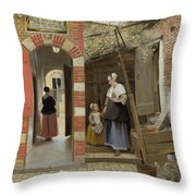 The Courtyard Of A House In Delft  Throw Pillow
