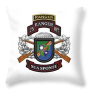 75th Ranger Regiment - Army Rangers Special Edition Over White Leather Throw Pillow