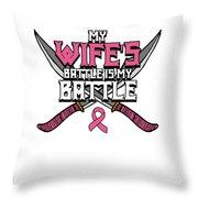 Breast Cancer Awareness Art For Warrior Women Light Dark Throw Pillow