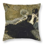 Woman With Fans  Throw Pillow