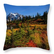 Autumn Colors With Mount Shuksan Throw Pillow