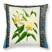 Orchid Framed On Weathered Plank And Rusty Metal Throw Pillow
