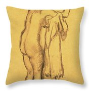A Bather Drying Herself By E Degas Throw Pillow