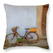 A Bicycle At Number 10 Throw Pillow