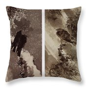 A Black Hawk And Two Crows Throw Pillow