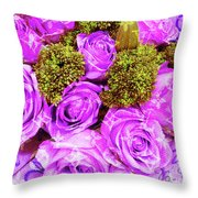 Lv With Lilac Roses  Throw Pillow