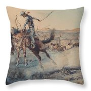 A Bucking Bronco, Edward Borein Throw Pillow