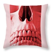 A Close Up Of A Human Skull In Red Throw Pillow