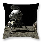 A Cosmonaut On The Moon Throw Pillow