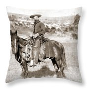 A Cowboy On Horseback, Photo, 19th Century Throw Pillow