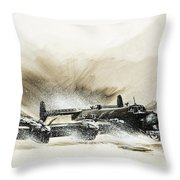 A Crippled Halifax Bomber Lands On The Ice Throw Pillow