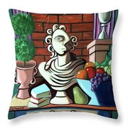 A Cubist Still Life Throw Pillow by Anthony Falbo