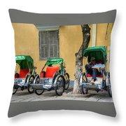 A Cyclo Driver Takes A Nap, In Hoi An, Vietnam. Throw Pillow