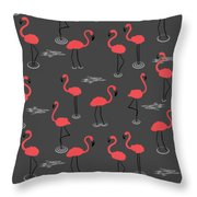 A Flamboyance Of Flamingos  Throw Pillow
