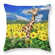 A Friendly Giraffe Hello Throw Pillow