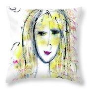 A Girl By The Artist Catalina Lira Throw Pillow