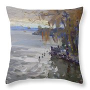 A Gray Fall Day At Fishermans Park Throw Pillow