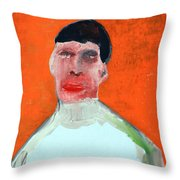 A Man With An Orange Background Throw Pillow