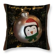 A Merry Christmas Greeting Throw Pillow
