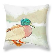 A Migrating Loon, Oslo, Norway -  Watercolor By Adam Asar Throw Pillow