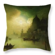 A Moonlit Night Over Venice Throw Pillow
