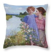 A Mother And Child By A River With Wild Roses 1919 Throw Pillow