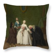 A Nobleman Kissing A Lady S Hand  Throw Pillow