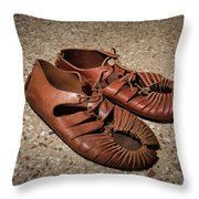 A Pair Of Roman Sandals Made Of Leather Throw Pillow