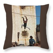 A Pair Of Stuntmen Perform At Old Tucson Throw Pillow