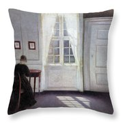 A Room In The Artist's Home In Strandgade, Copenhagen, With The Artist's Wife - Digital Remastered Throw Pillow