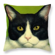 A Serious Cat Throw Pillow by James W Johnson