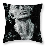 A Stone Bust In The Forest Throw Pillow