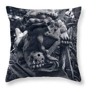 A Stone Gargoyle In The Woods Throw Pillow