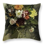 A Vase Of Flowers, 1833 Throw Pillow