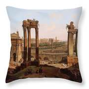 A View Of The Forum Romanum Throw Pillow