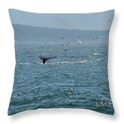 A Whale's Tail Above Water With Sail Boat In The Background Throw Pillow