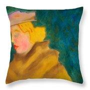 A Woman In A Fur Throw Pillow
