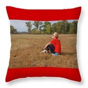 A Woman Is  Sitting In A Park And Admiring The Landscape Throw Pillow