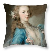 A Young Lady With A Parrot Throw Pillow