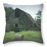 Abandoned Barn And Hay Roll 2018c Throw Pillow