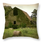 Abandoned Barn And Hay Roll 2018d Throw Pillow