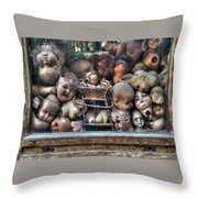 Abandoned Doll Heads Throw Pillow
