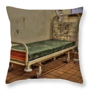 Abandoned Hospital Bed Throw Pillow