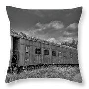 Abandoned Railroad Car In Rural New Brunswick Throw Pillow