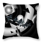 Abstract Birds On A Wire Black N White 1of3 Throw Pillow
