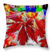 Abstract Fall Acer Stained Glass  Throw Pillow