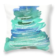 Abstract Fir Tree Christmas Watercolor Painting Throw Pillow