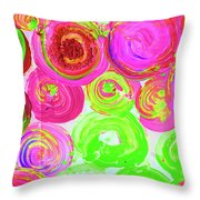 Abstract Flower Crowd Throw Pillow